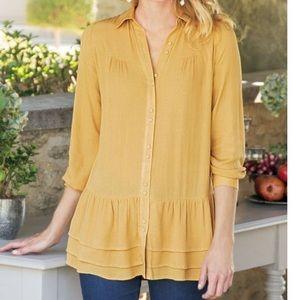 Soft surroundings arabitha gauze  shirt yellow m